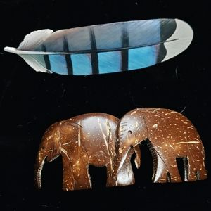 Elephant and feather barrette.